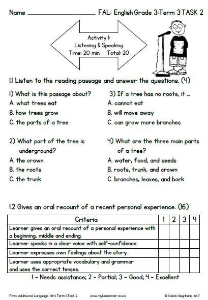 grade 3 first additional language english term 3 task 2 memo assessment plan 2017 187 my
