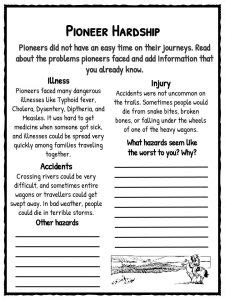 pioneer facts information worksheets  classroom