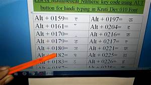 Hindi Typing Mathematical Numeric Code With Alt Button