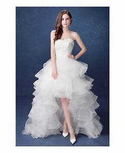 2017 country high low wedding dresses with train ruffles With cascading ruffles wedding dress