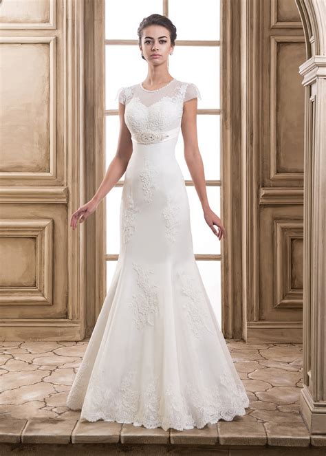 empire wedding dresses mermaid beaded neck cap sleeves corset back lace tulle 3901