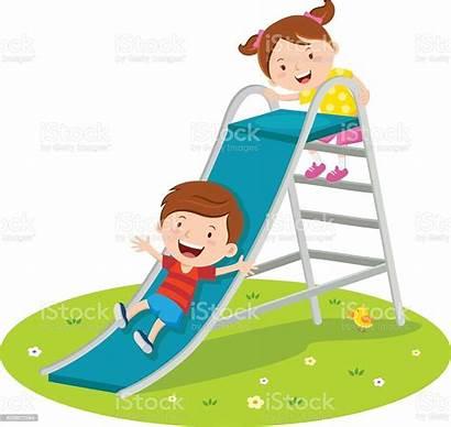Slide Playing Children Vector Child Playground Illustration