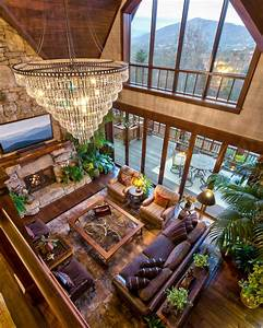 Rustic, Living, Room, With, Crystal, Chandelier, And, Vaulted