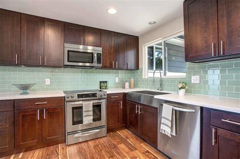 glass subway tile backsplash kitchen green glass tile kitchen backsplash roselawnlutheran
