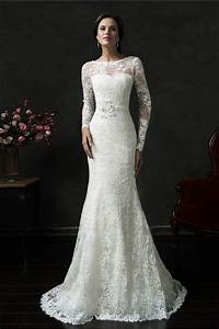 mermaid deep v back long sleeve vintage lace wedding dress With long lace wedding dress