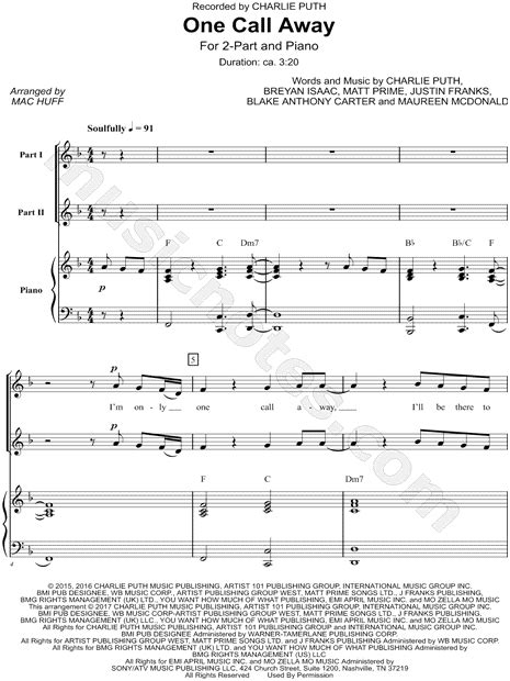 puth quot one call away quot arr mac huff 2 part choir piano choral sheet in f major