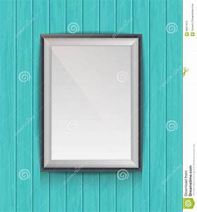 template for hanging pictures - realistic blank poster in a wooden picture frame stock