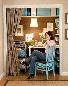 A closet turned home office from lowe39s blisstree for Home office closet organization ideas