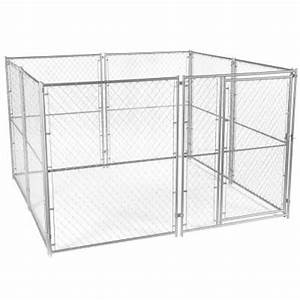 lucky dog 6 ft h x 10 ft w x 10 ft l modular chain link With chain link dog kennel panels home depot