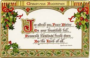 Christmas Blessings ~ Free Vintage Postcard Graphic Old