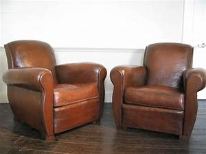 Good Pair Of 1930s French Leather Club Chairs Leather