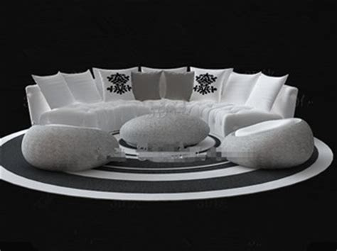 white circular sofa combination  model downloadfree