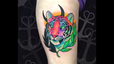 realistic lisa frank tiger tiger tattoo time lapse youtube