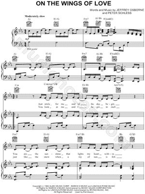 jeffrey osborne quot on the wings of love quot sheet music