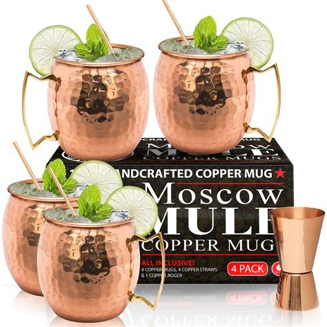 moscow mule copper mugs set    handcrafted food safe pure solid copper mugs  oz