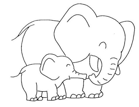 baby elephant love  mother coloring page elephants