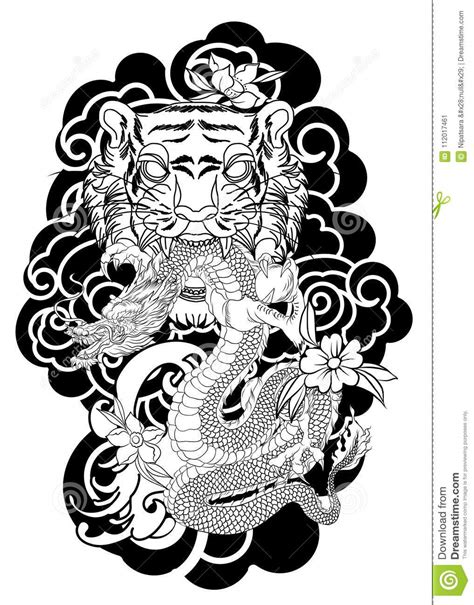Traditional Japanese Tattoo Design For Back Body.Tiger Face With Old Dragon On Cloud Background