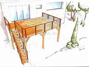 prix d39une terrasse sur pilotis With terrasse en bois suspendue prix