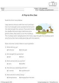 efl comprehension  trip   zoo