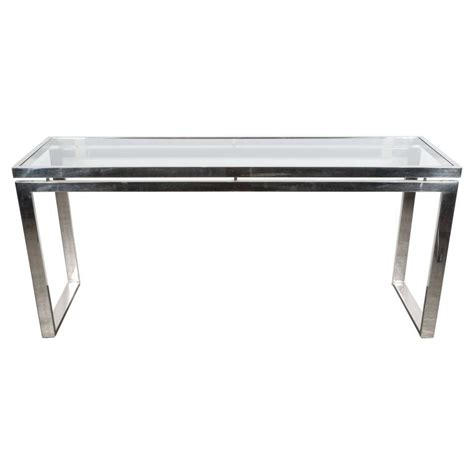 glass and chrome sofa table mid century modernist chrome and glass console or sofa