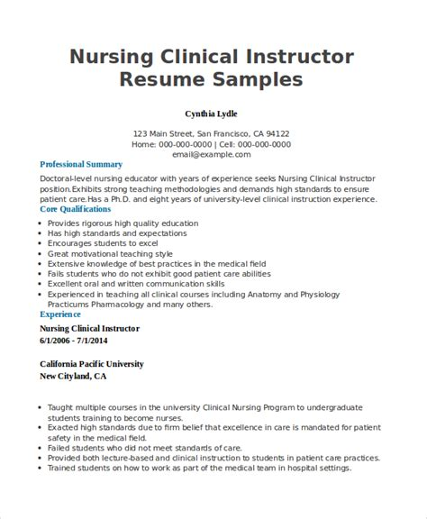 100 original sle resume nursing instructor