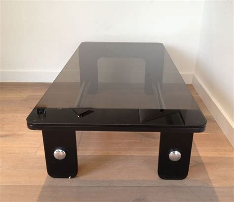 Custom live edge slab coffee. Mid Century Coffee Table in Black Wood, Chrome and Smoked Glass for sale at Pamono