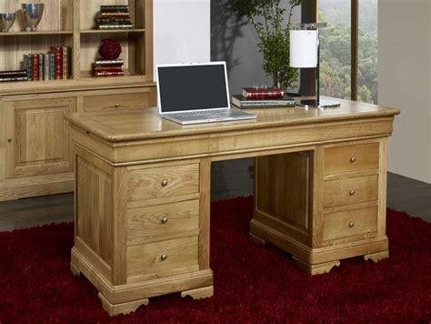 bureau ministre bois massif bureau ministre 9 tiroirs en chêne massif de style louis