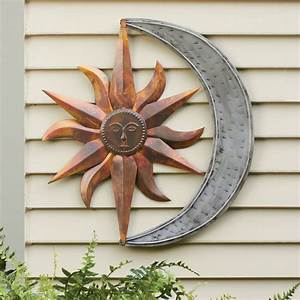 Sun and moon indoor outdoor metal wall art for Outside wall decor