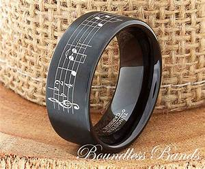 music note tungsten wedding band music note ring by With music wedding ring