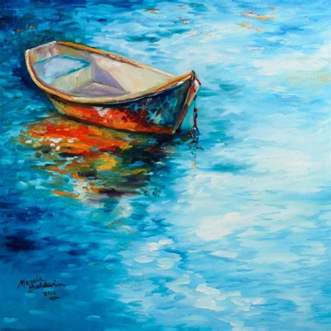 Fishing For Life Boat Auction by Peace Calm Water Landscape Boat Reflections By Marcia