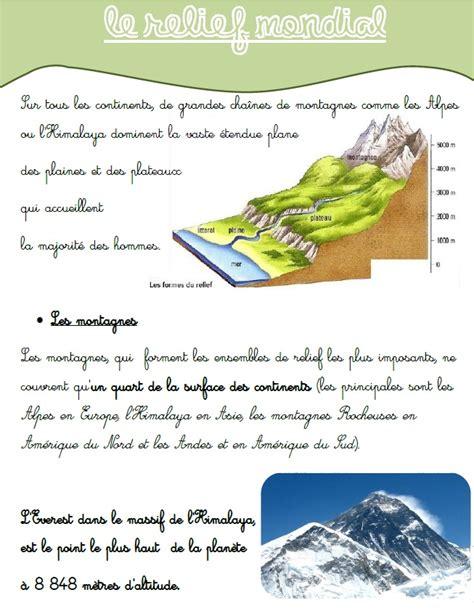 Carte Montagne Cycle 3 by G 233 Ographie Le Relief Mondial Ma Maitresse De Cm1 Cm2