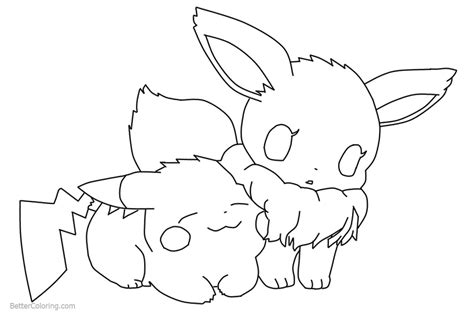 chibi pikachu  eevee coloring pages  deathdaredevil