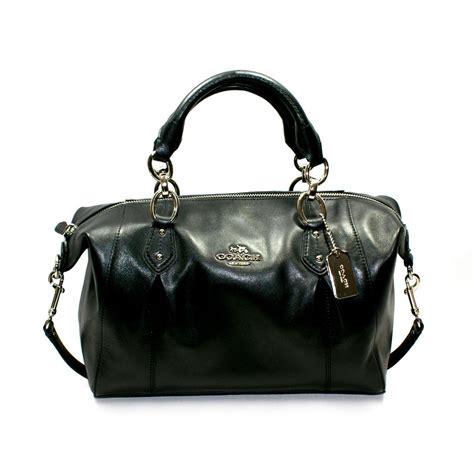 coach collette leather satchelshoulder bag black