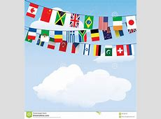 Flags of the world bunting stock vector Illustration of