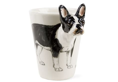 boston terrier handmade oz coffee mug  blue witch