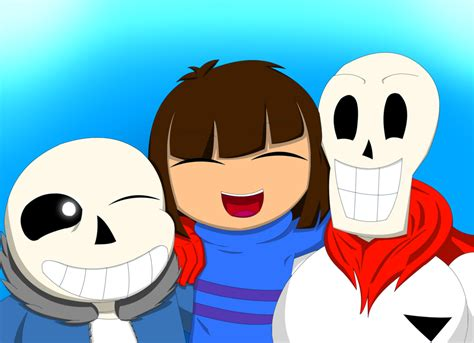 Sans, Frisk, And Papyrus (undertale Pacifist Run) By