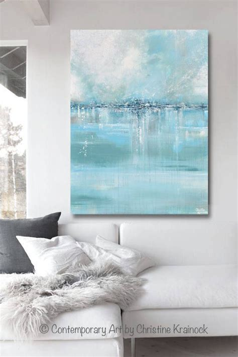 giclee print large art abstract painting blue white grey