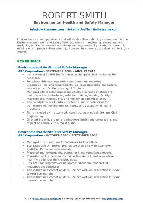 environmental health  safety manager resume samples