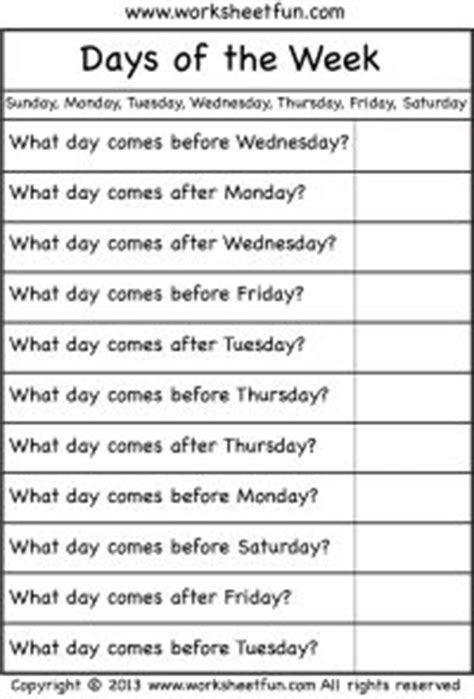 days of the week worksheets homeschool kindergarten
