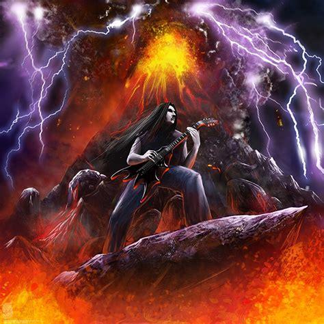 bilder vulkan gitarre heavy metal blitz musik gezeichnet
