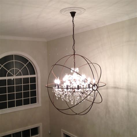 restoration hardware focault orb chandelier foyer