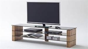 TV Rack KARI TV Board Lowboard In Eiche Massiv Glas Grau 140