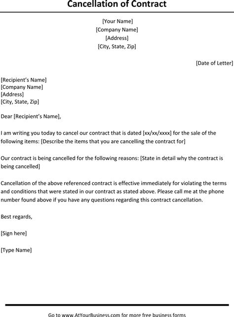 contract cancellation letter   page termination
