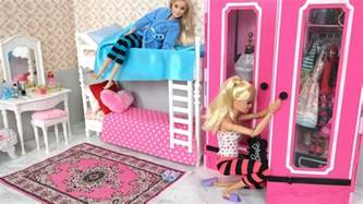 barbie bedroom bunk bed morning routine دمية باربي غرفة
