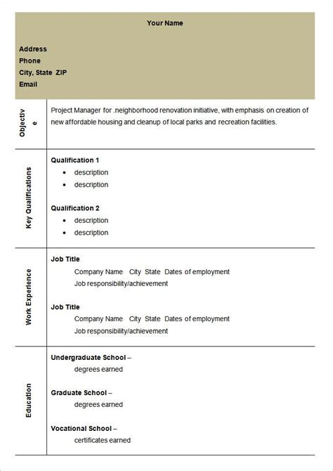 blank resume templates   samples examples