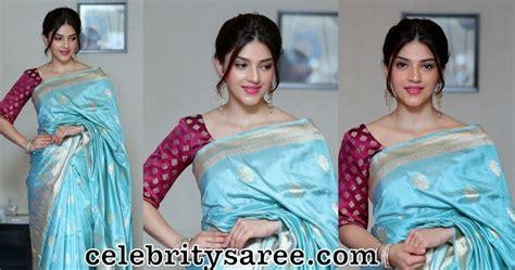 mehreen pirzada sky blue silk saree saree blouse patterns