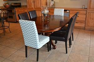 Dining room design exciting parson chair chevron slip for Chair back covers for leather chairs