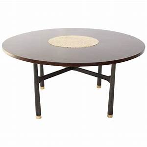 Harvey Probber Round Walnut Game Center Table With