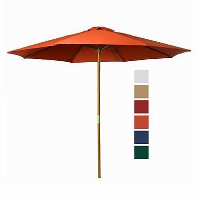 Umbrella Orange Outdoor Patio Market Wooden Bright