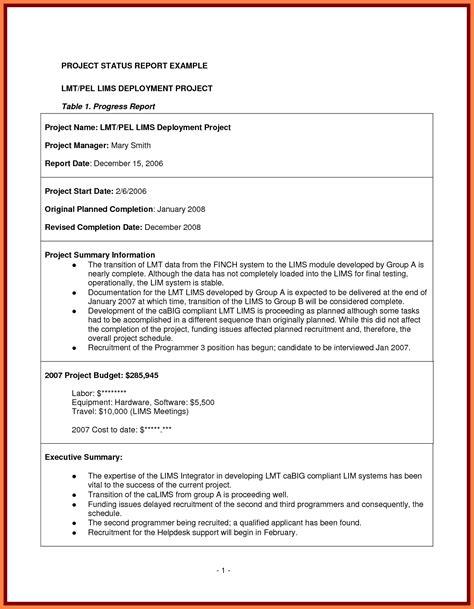 project management final report template progress report